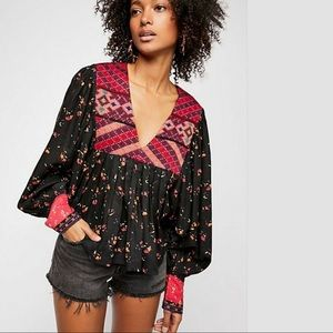 NWT Free People Lady Lou Printed Floral Blouse